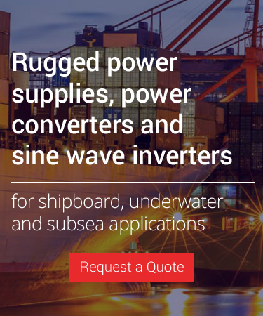 Rugged power supplies, battery chargers, converters and sine wave inverters for shipboard, underwater and subsea  power systems