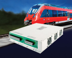 750Vdc high input voltage railway DC-DC converters offer traction voltage required for trams, metros, light rail vehicles, mining locomotives and trolley buses.